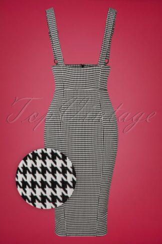 50s Karen Houndstooth Suspender Pencil Skirt in Black and White