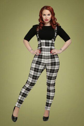 50s Karen Monochrome Check Suspender Trousers in Black and White