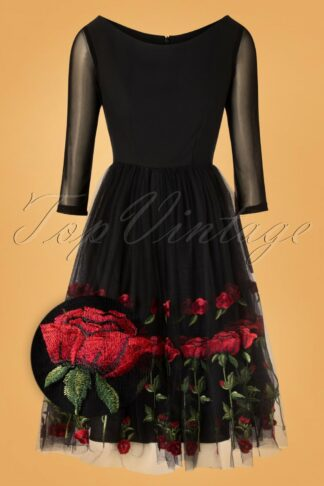 50s Kathlynn Roses Swing Dress in Black