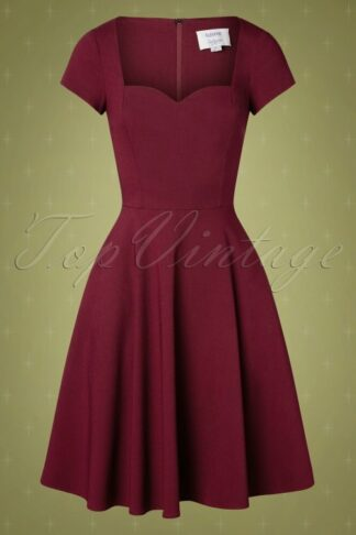 50s Kristy Plain Swing Dress in Wine
