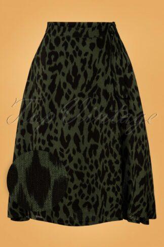 50s Lea Leopard Wrap Skirt in Green