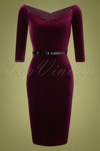 50s Lena Velvet Pencil Dress in Claret Red