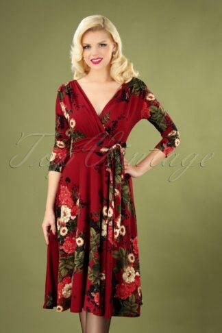 50s Lenora Floral Dress in Wine