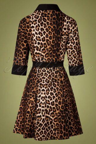 50s Leo-La-La Collar Dress in Leopard