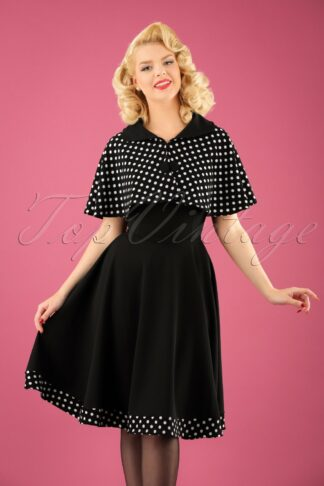 50s Lesly Polkadot Cape Swing Dress in Black