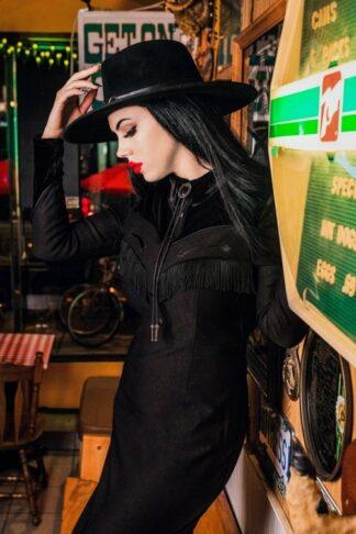 50s Loretta Western Pencil Dress in Black