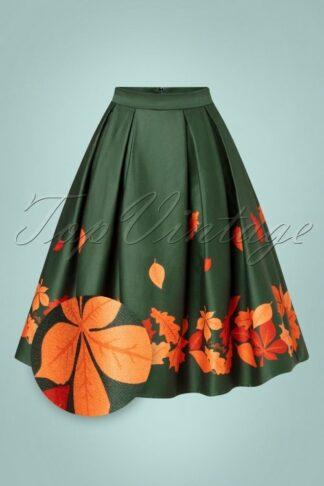 50s Marilu Border Leaves Swing Skirt in Green