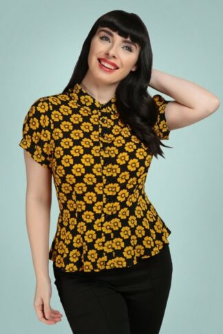 50s Mary Grace Vintage Fleur Blouse in Black and Mustard