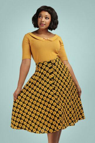 50s Megan Vintage Fleur Swing Skirt in Black and Mustard
