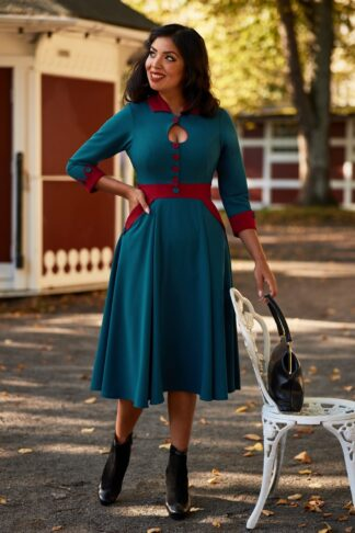50s Modesty Bo Swing Dress in Petrol and Red