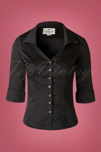50s Mona 3/4 Sleeve Blouse in Black