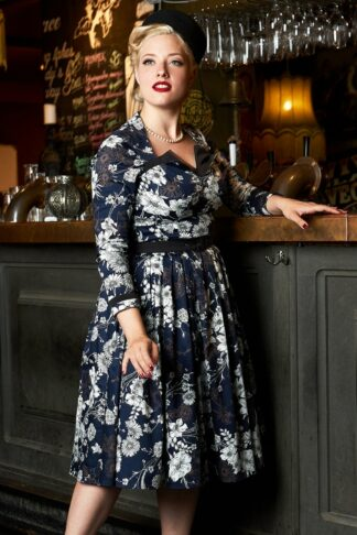 50s Pabla-Lee Floral Swing Dress in Navy