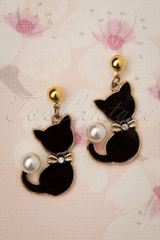 50s Pearl Cat Drop Earrings in Gold