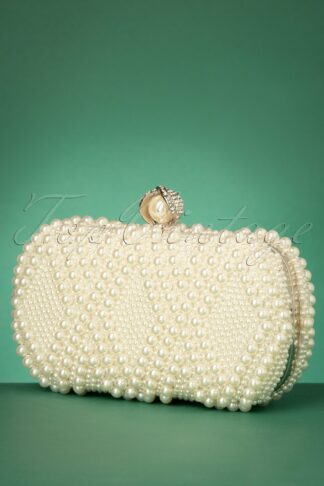 50s Pearl Hard Case Clutch in Ivory