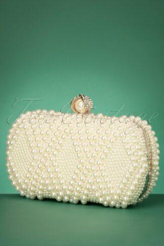 50s Pearl Hard Case Clutch in Ivory