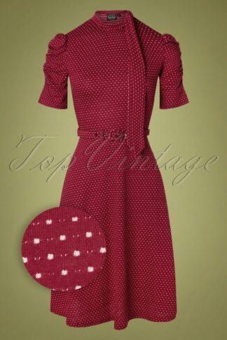 50s Posie Polkadot Swing Dress in Burgundy