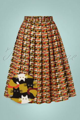50s Purrfect Cat Pleated Swing Skirt in Mustard