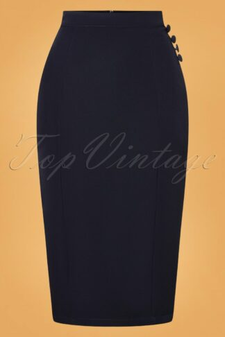 50s Riley Wiggle Pencil Skirt in Navy