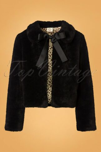 50s Rock n Roll Swing Fur Jacket in Black