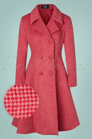 50s Rosalie Wool Swing Coat in Red and Pink