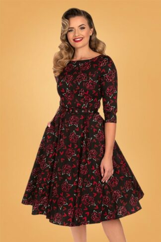 50s Roselyn Red Hearts Swing Dress in Black