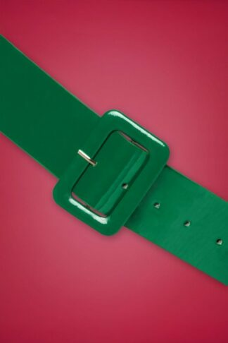 50s Sally Patent Plain Belt in Green