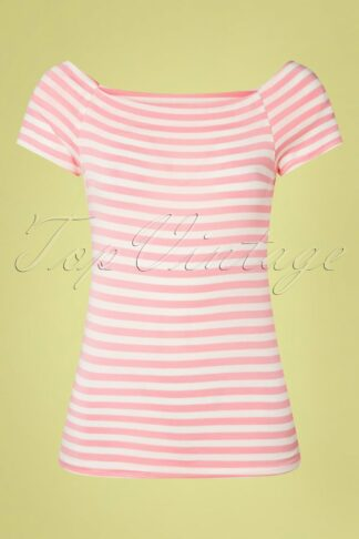 50s Sandra Dee Striped Top in Pink and Ivory