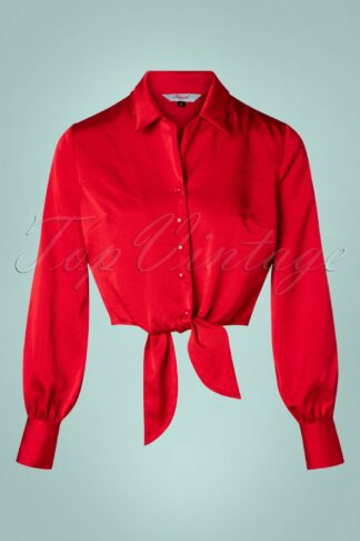 50s Suave Tie Blouse in Lipstick Red