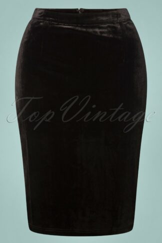 50s Suave Velvet Pencil Skirt in Black