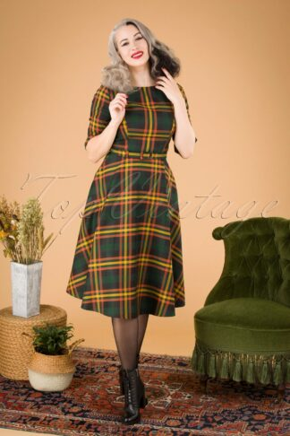 50s Suzanne Valley Check Swing Dress in Multi