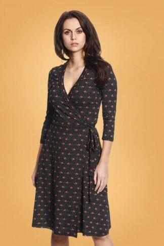 50s Sweet Rose Wrap Dress in Black