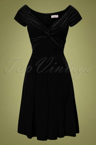 50s Trissie Twisted Velvet Swing Dress in Black