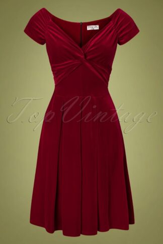 50s Trissie Twisted Velvet Swing Dress in Red