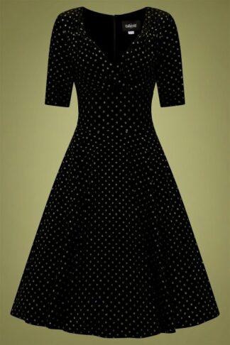 50s Trixie Golden Polka Velvet Doll Swing Dress in Black
