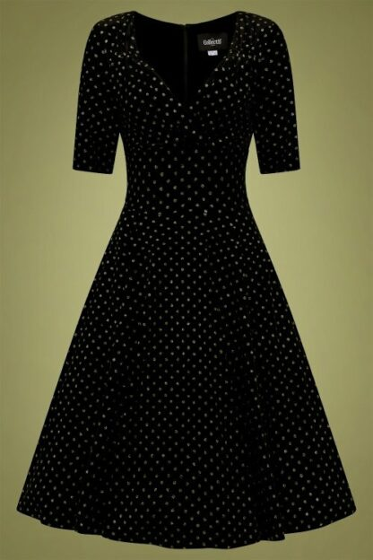 50s Trixie Golden Polka Velvet Doll Swing Dress in Black