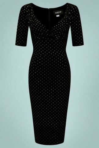 50s Trixie Golden Polka Velvet Pencil Dress in Black