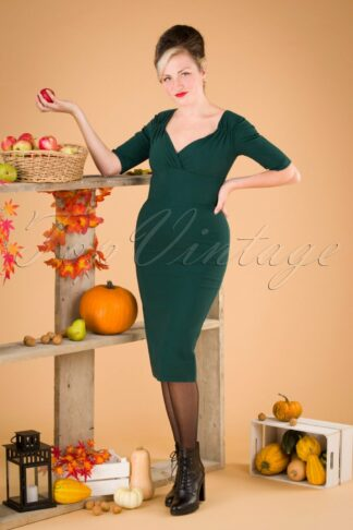 50s Trixie Pencil Dress in Teal
