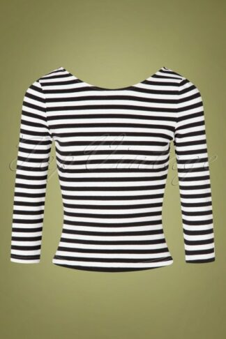 50s Twinnie Striped Top in Black and White