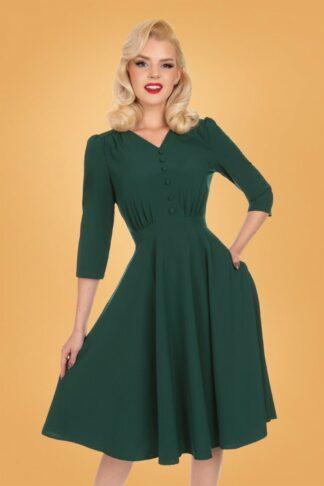50s Verde Swing Dress in Dark Green