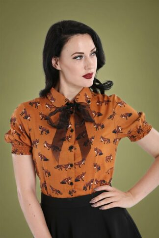 50s Vixey Blouse in Rust Brown