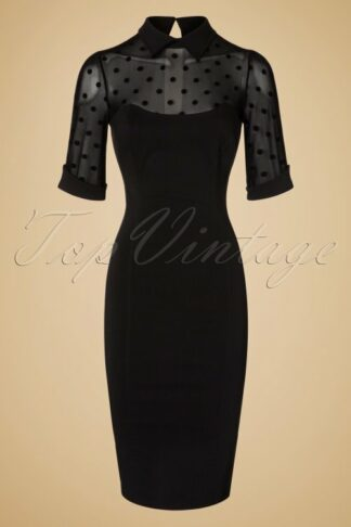 50s Wednesday Polkadot Pencil Dress in Black