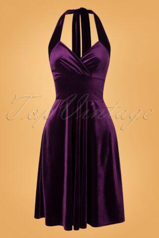 50s Yolanda Velvet Halter Dress in Purple