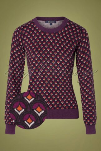 60s Agnes Pose Top in Grape Red