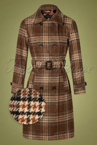 60s Brielle Check Coat in Brown