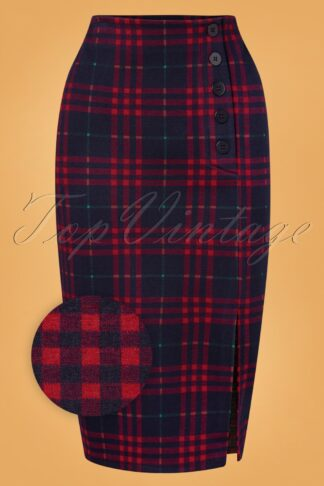 60s Falda Plaid Pencil Skirt in Navy and Red