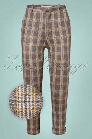60s Jaylo Clan Check Trousers in Grey