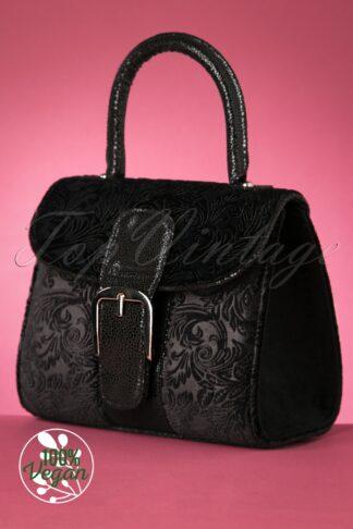 60s Riva Velvet Handbag in Black