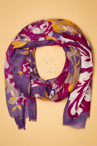 70s Autumn Roses Scarf in Purple