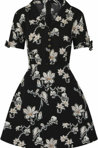 Hell Bunny Sagano Mini Dress Mittellanges Kleid schwarz/weiß