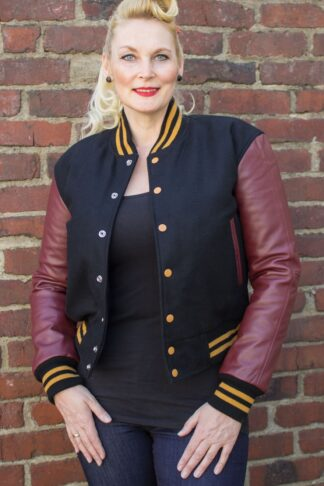 Lady Leder Baseball Jacke - schwarz/bordeaux von Rockabilly Rules